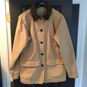 LL BEAN Barn coat field jacket Tan Canvas Corduroy